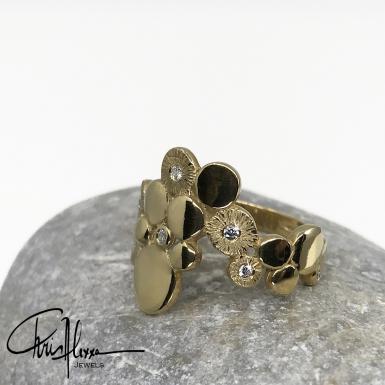 Bague unique Myos or et diamants gauche