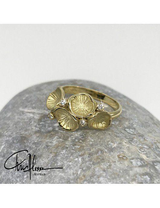 Bague Pollen or et diamants gauche
