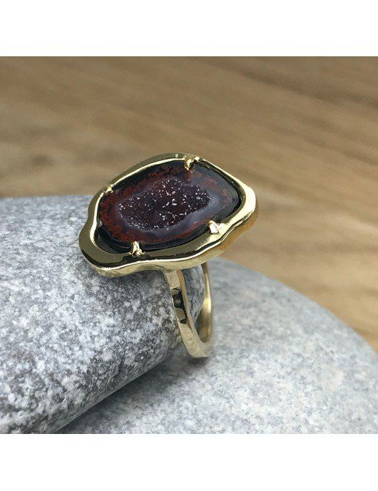Geode sur bague or Chris Alexxa
