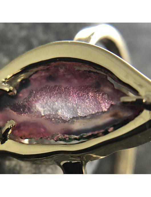 Geode d'agathe sur bague or Chris Alexxa 2