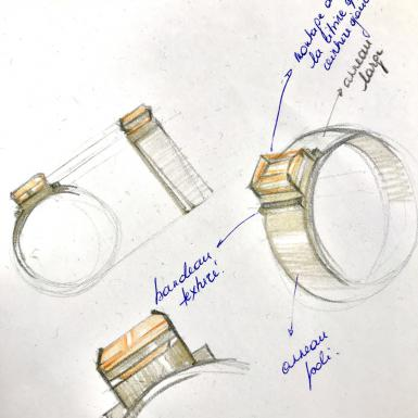 croquis bague citrine Chris Alexxa