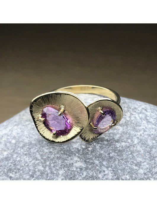 bague Saphir Rose double Chris Alexxa