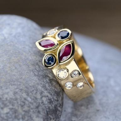 Bague or rubis saphir diamants Chris Alexxa