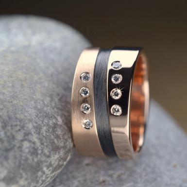 Bague or rose carbone diamants Chris Alexxa