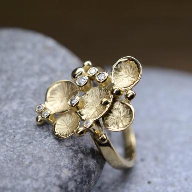Bague Pollen or 7 diamants Chris Alexxa