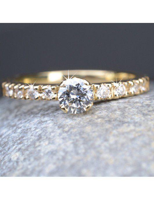 Bague de fiançailles or 9 diamants Chris Alexxa bijouterie Liège