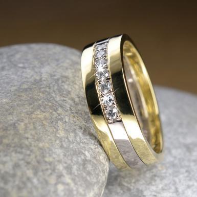 Alliance or blanc et jaune 7 diamants Chris Alexxa