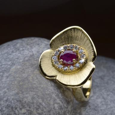 Bague Corolle or rubis diamants Chris Alexxa