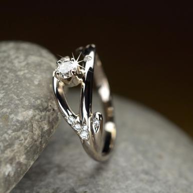 Bague fiançailles or blanc et diamants Chris Alexxa bjouterie Liège