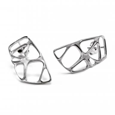 Boucles d'oreilles Lotus medium Chris Alexxa argent